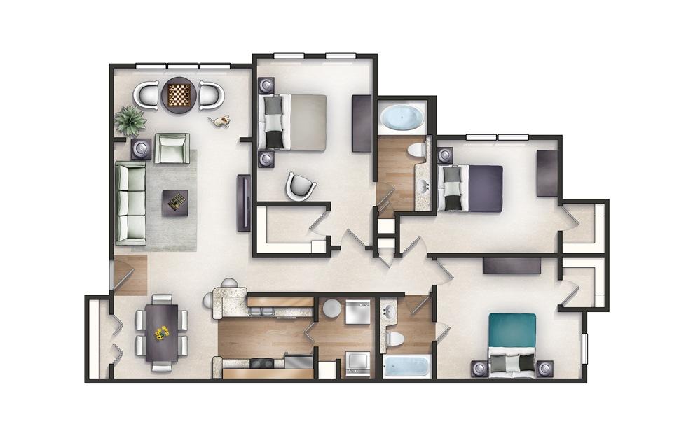 Hampton - 3 bedroom floorplan layout with 2 baths and 1362 square feet.