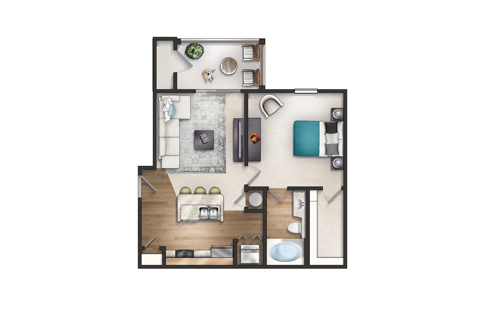 Chicora - 1 bedroom floorplan layout with 1 bath and 735 square feet.