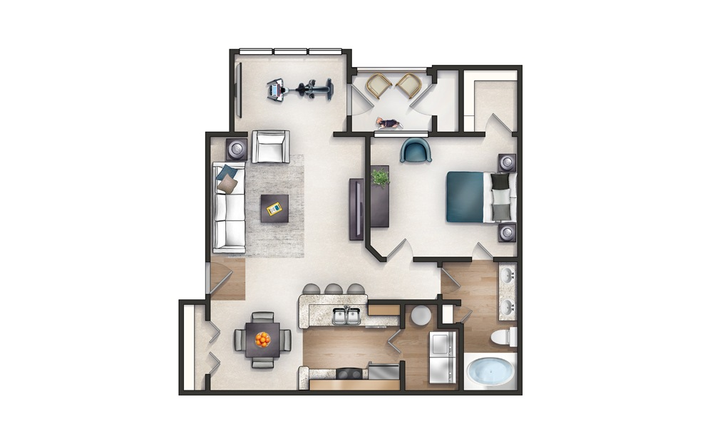 Cleveland - 1 bedroom floorplan layout with 1 bath and 921 square feet.