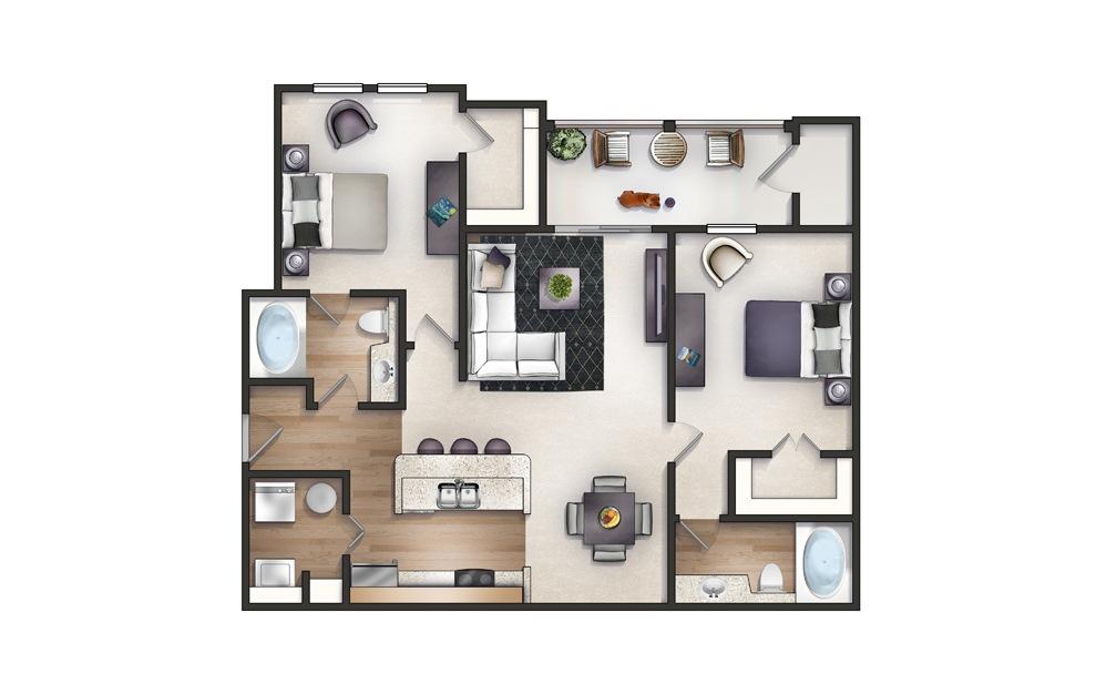 Jasmine - 2 bedroom floorplan layout with 2 baths and 1196 square feet.