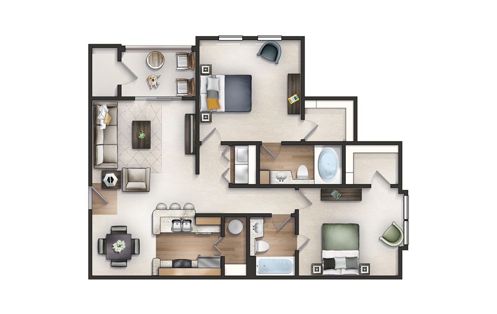 Palmetto - 2 bedroom floorplan layout with 2 baths and 1144 square feet.