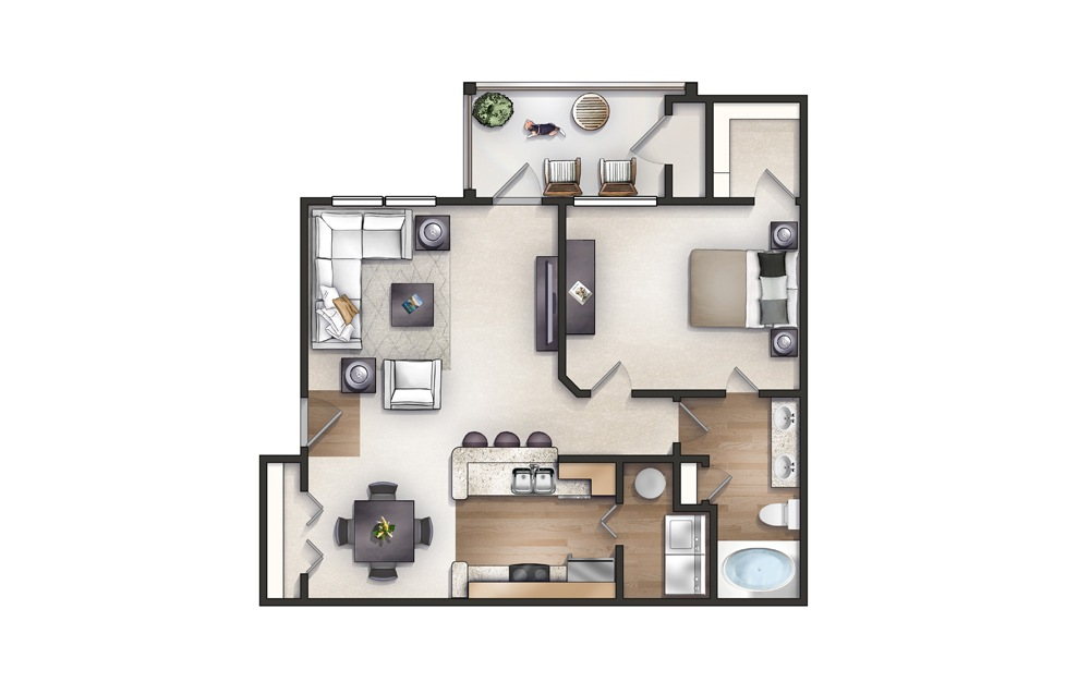Poinsett - 1 bedroom floorplan layout with 1 bath and 857 square feet.