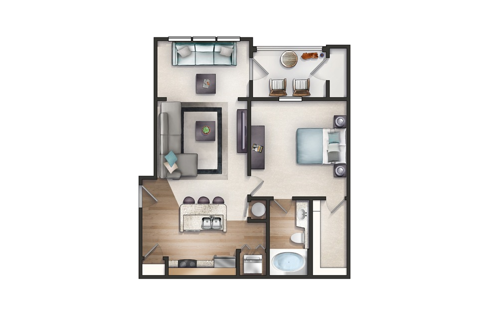Reedy - 1 bedroom floorplan layout with 1 bath and 801 square feet.