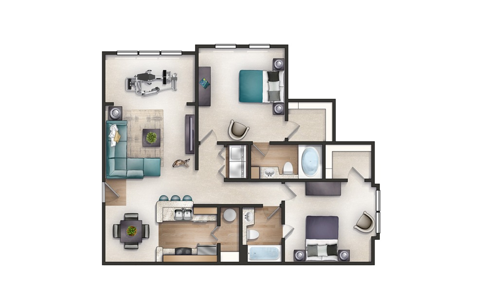 Wren - 2 bedroom floorplan layout with 2 baths and 1158 square feet.
